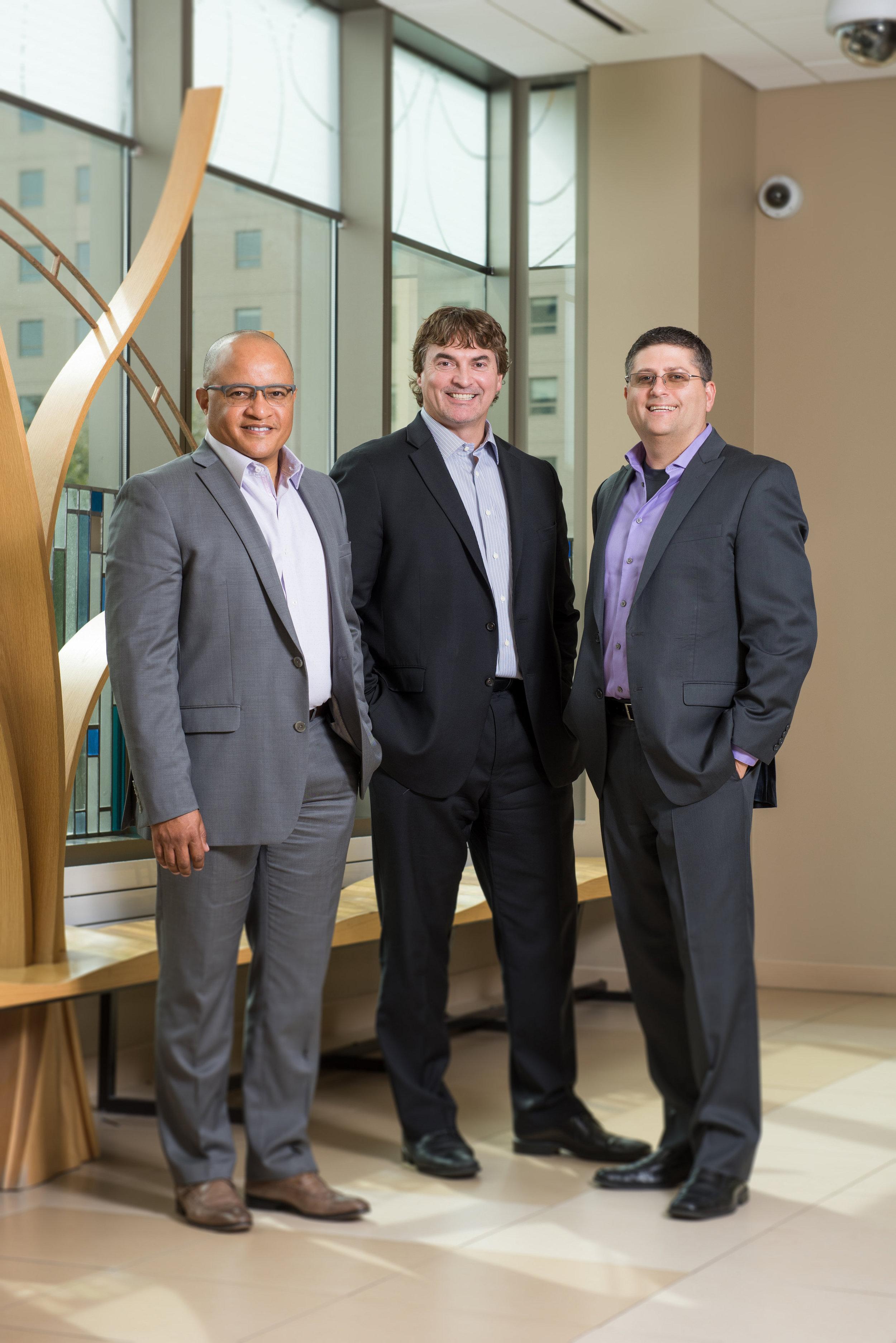 Sonex leadership team. From left to right: Darryl Barnes, Jay Smith, and Aaron Keenan.  Photo courtesy of Sonex Health.