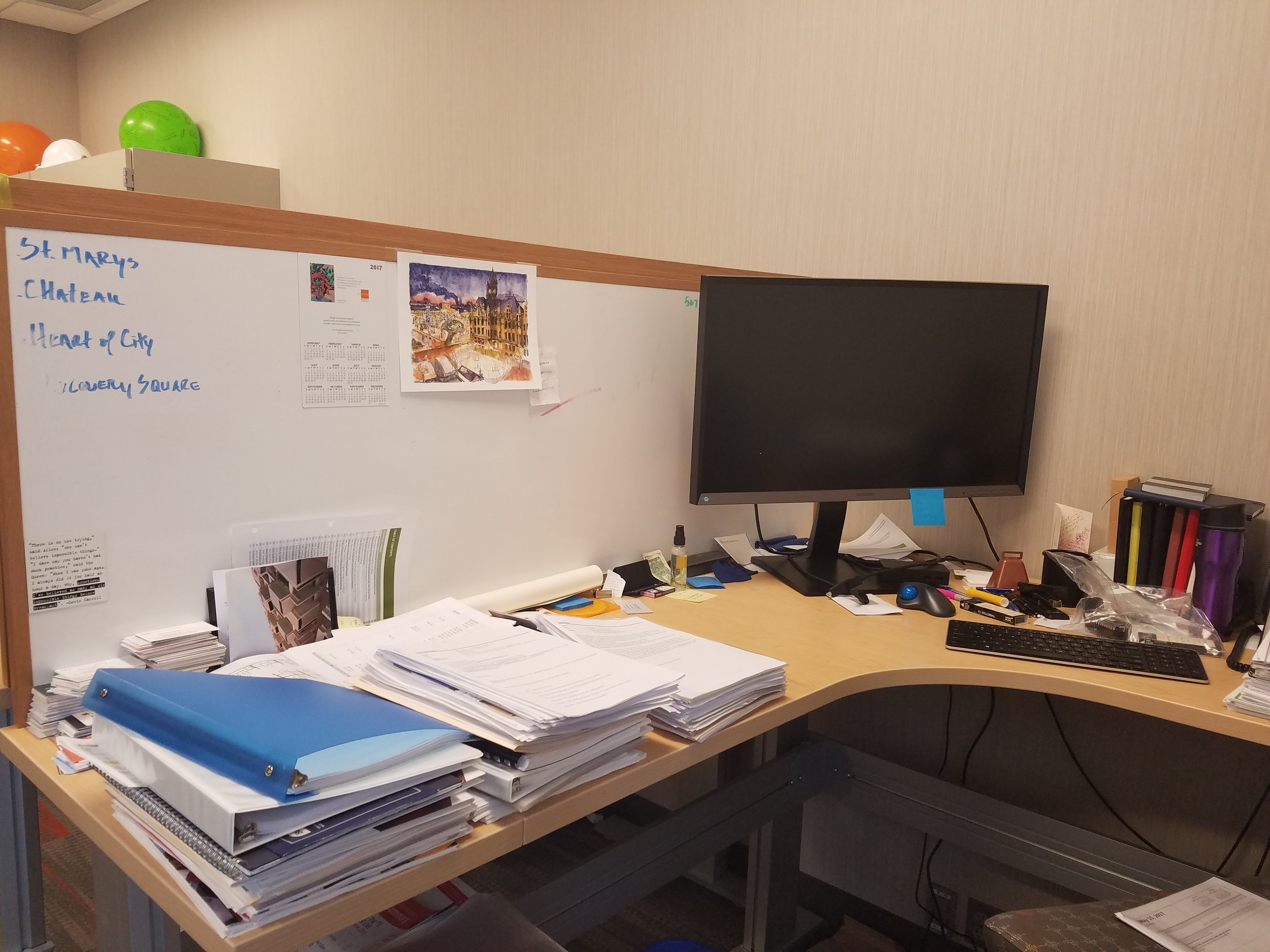 Desk of Patrick Seeb, DMC Director of Economic Development and Placemaking.