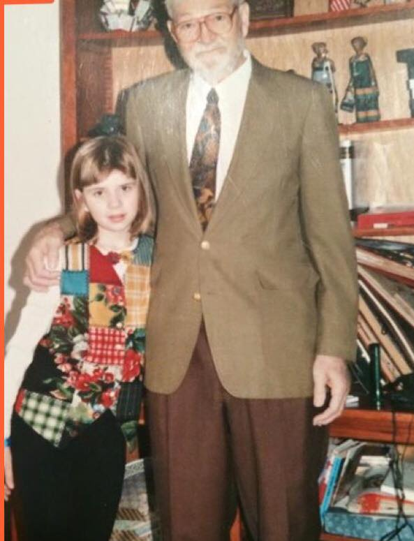 Hesby and her father, Dr. Wright-Peterson, in 1994.