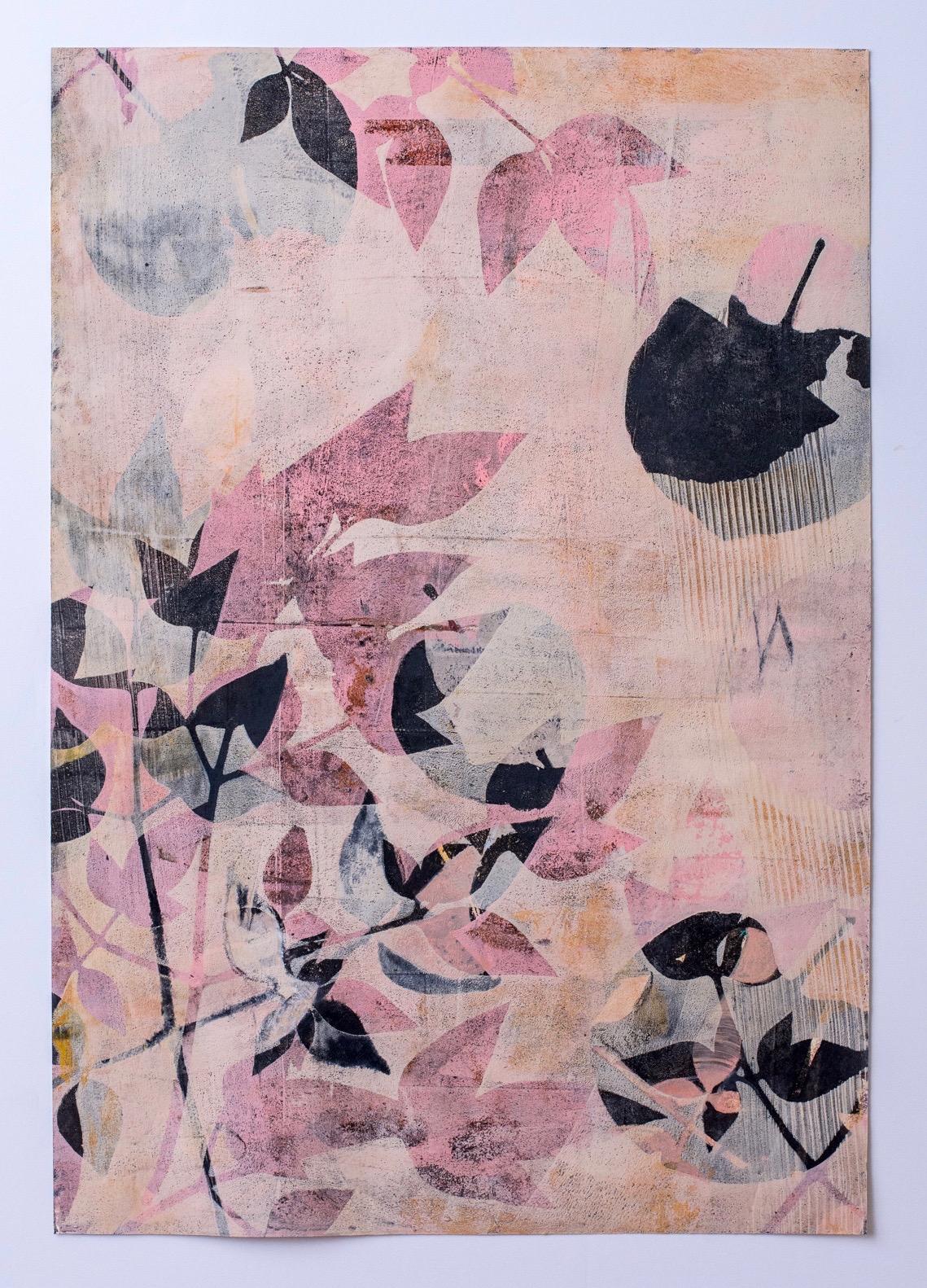 "Peach Nandina, 13"" x 19,"" Monoprint Collage"