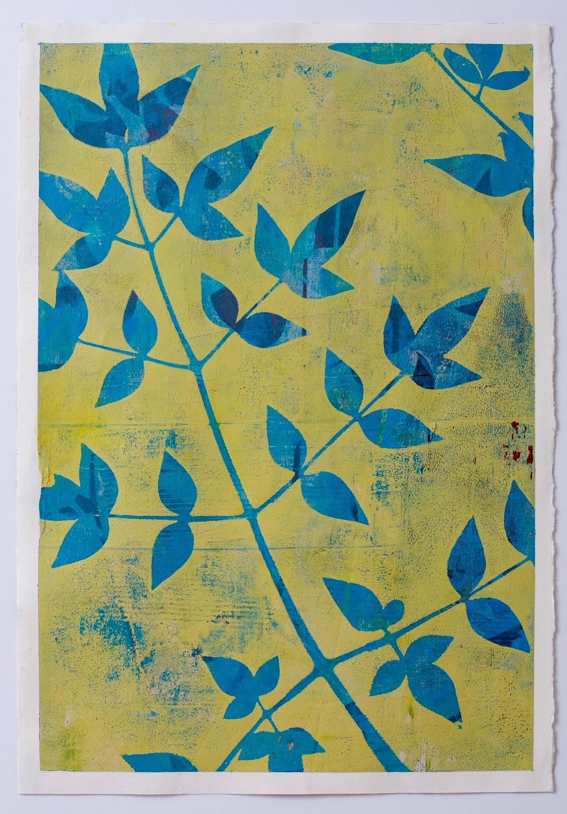 """Hidden Afternoon, 13"""" x 19,"""" Monoprint Collage"""