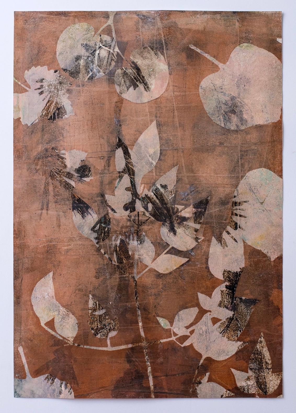 """Autumn Folia, 13"""" x 19,"""" Monoprint Collage"""