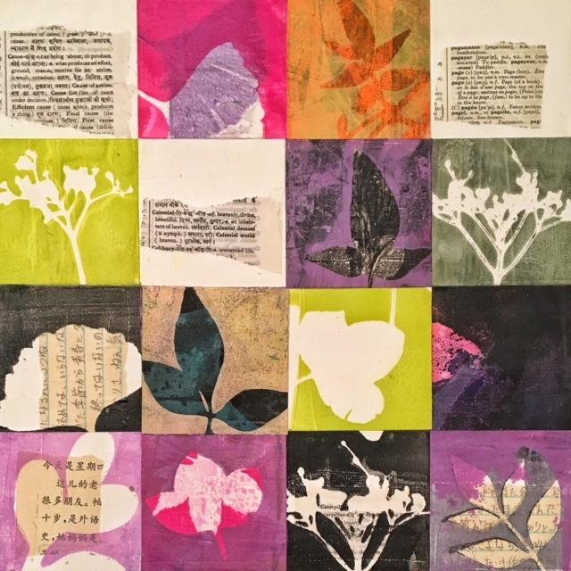 "Fresh Start, ©2017, 12"" x 12,"" Monoprint Collage"