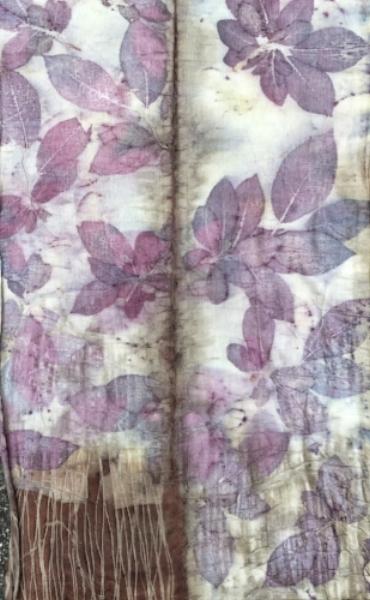 Infinity scarf printed with prunus leaves on silk/wool blend