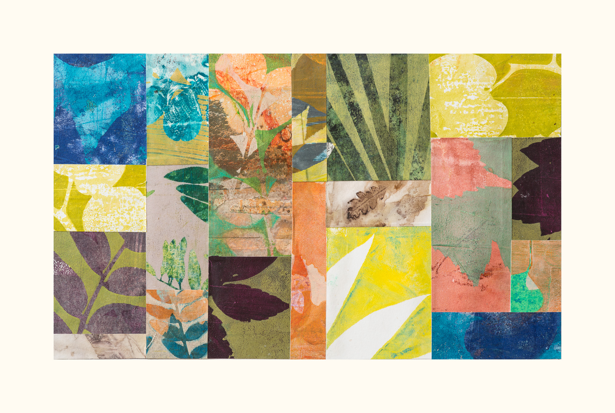 """Garden Thoughts, 19"""" x 13,"""" Monoprint collage"""