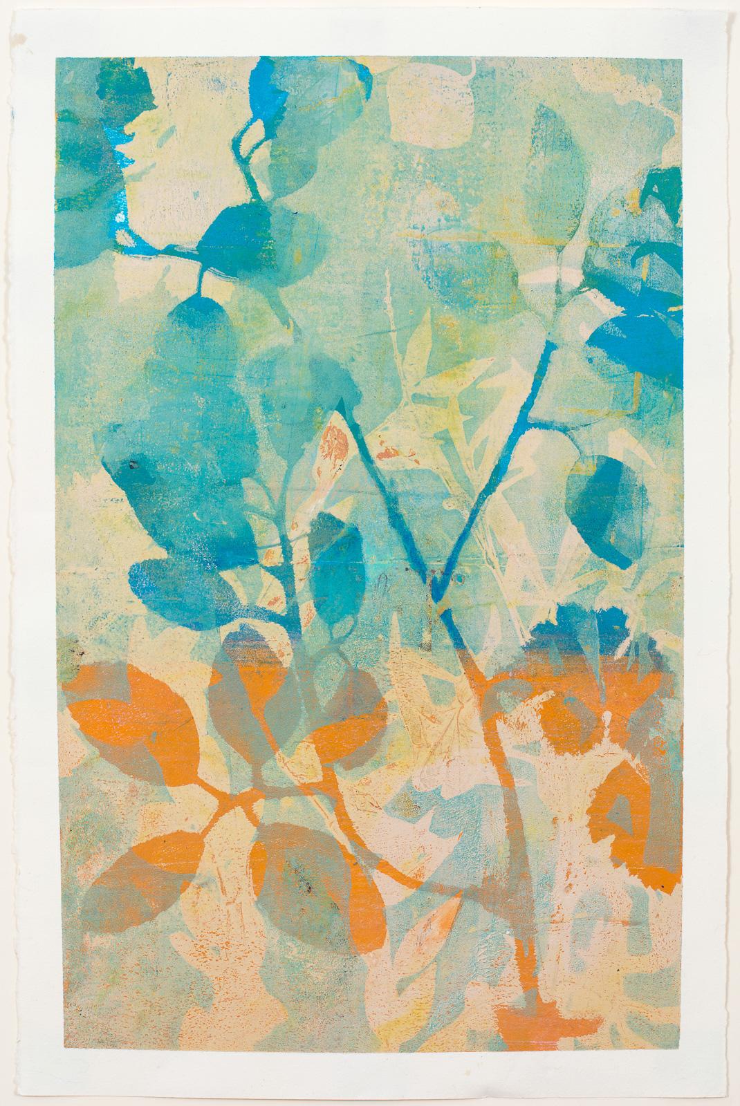 """Blue Branch, 13"""" x 19,"""" Monoprint"""