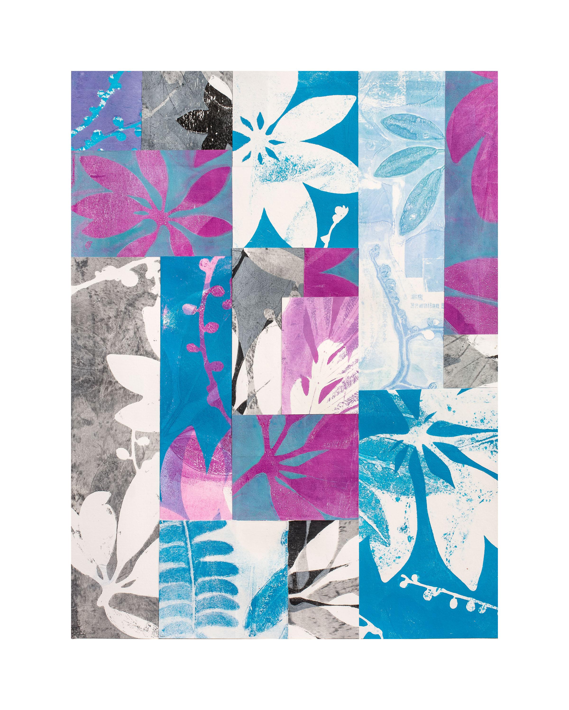 "Bloom, 16"" x 20,"" Monoprint collage"
