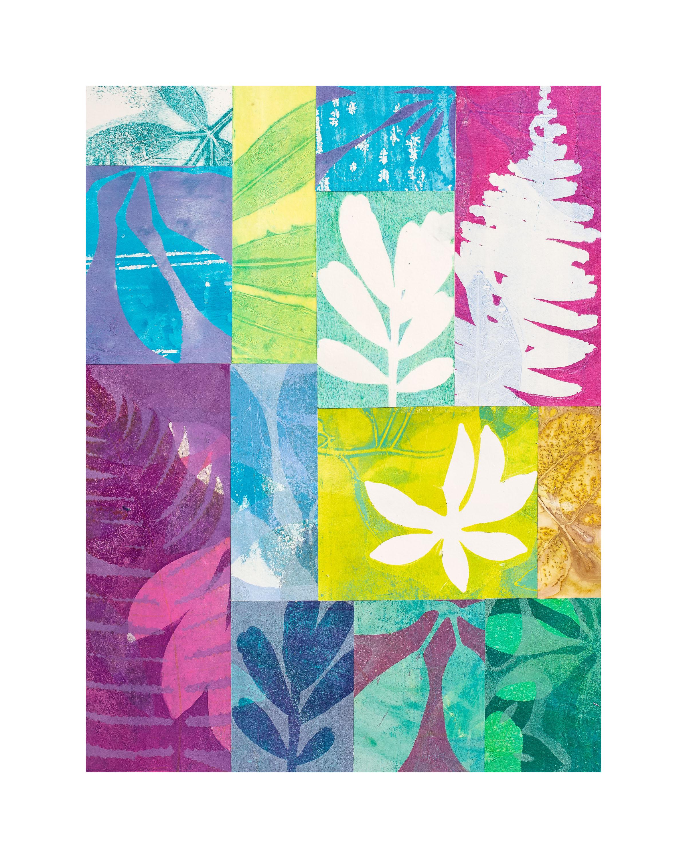 "Island Wind, 16"" x 20,"" Monoprint collage"
