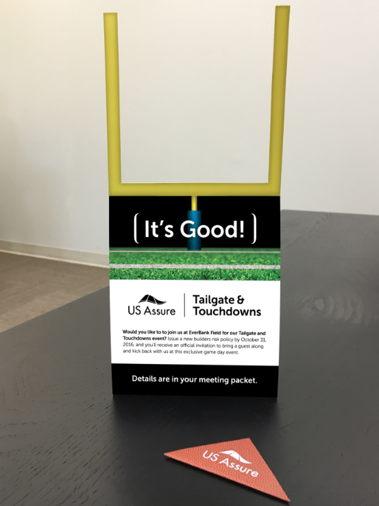 """ROLE: COPYWRITER and CONCEPT STRATEGY    PROJECT COPY:  """"It's Good.""""   Engaging a group of people sitting around a table requires innovative thinking and a little fun.   CLIENT: US ASSURE     AGENCY: WINGARD CREATIVE"""