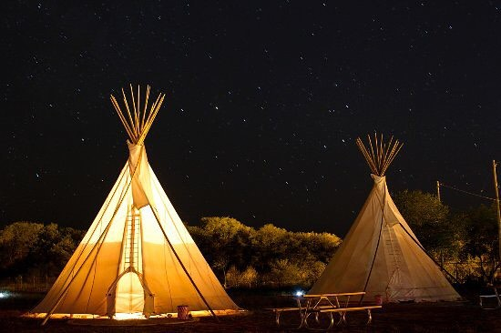 Starry Night over the El Cosmico Tee Pees in Marfa.