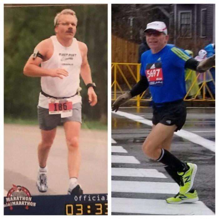 Left: Dean's first marathon at age 50. (Kentucky Derby Festival Marathon, 2008)  Right: Dean's most recent marathon at the age of 60. (Boston Marathon, 2018)