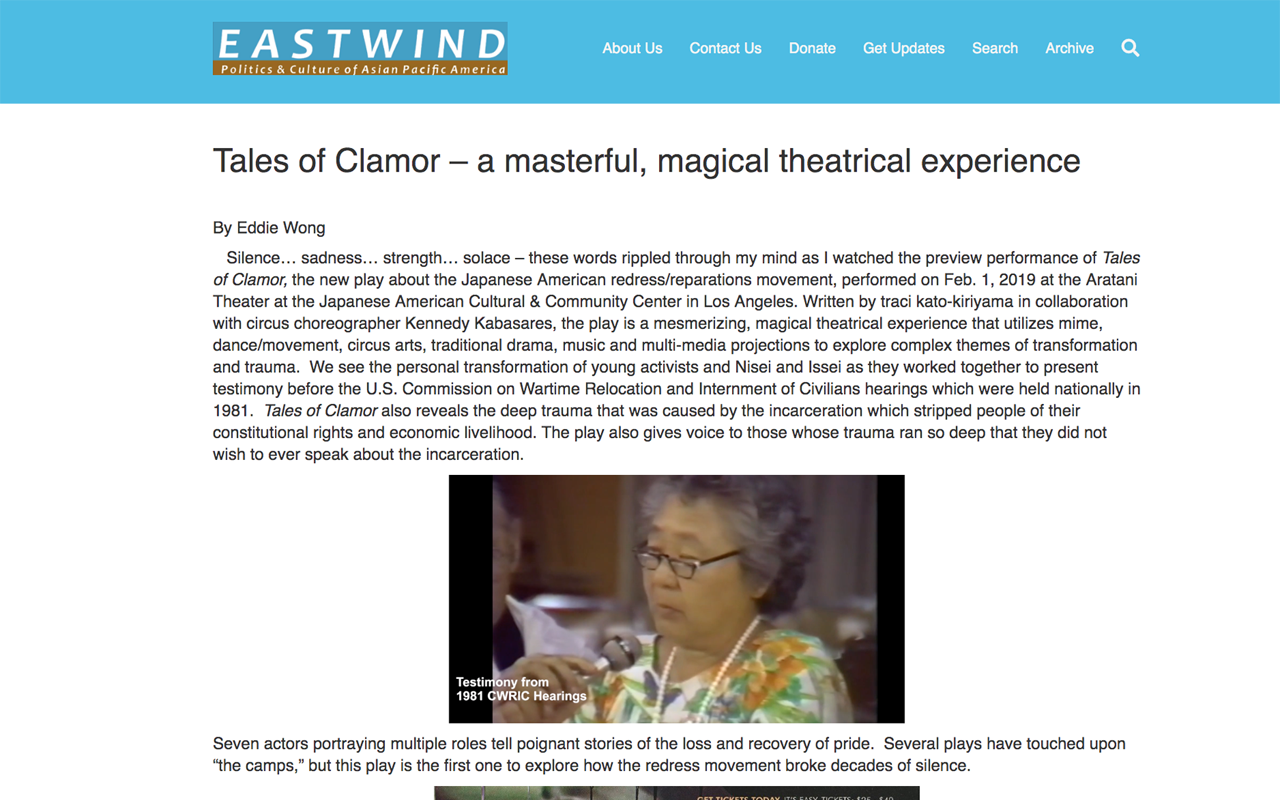 "EAST WIND ZINE    [READ]: ""Tales of Clamor – a masterful, magical theatrical experience"" by Eddie Wong.  Feb 2019."