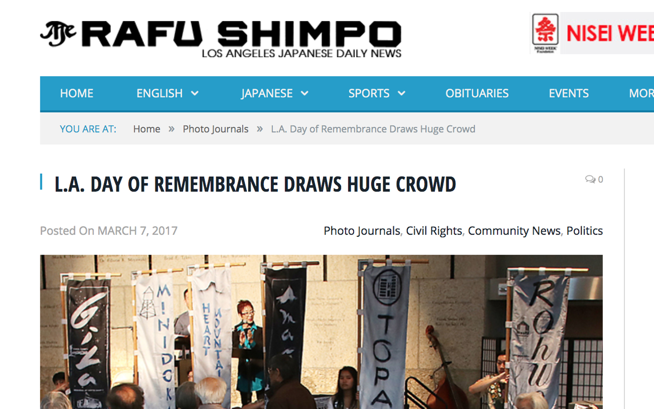 "RAFU SHIMPO     [READ]:  ""LA Day of Remembrance Draws Huge Crowd"" by JK Yamamoto. Mar 2017."