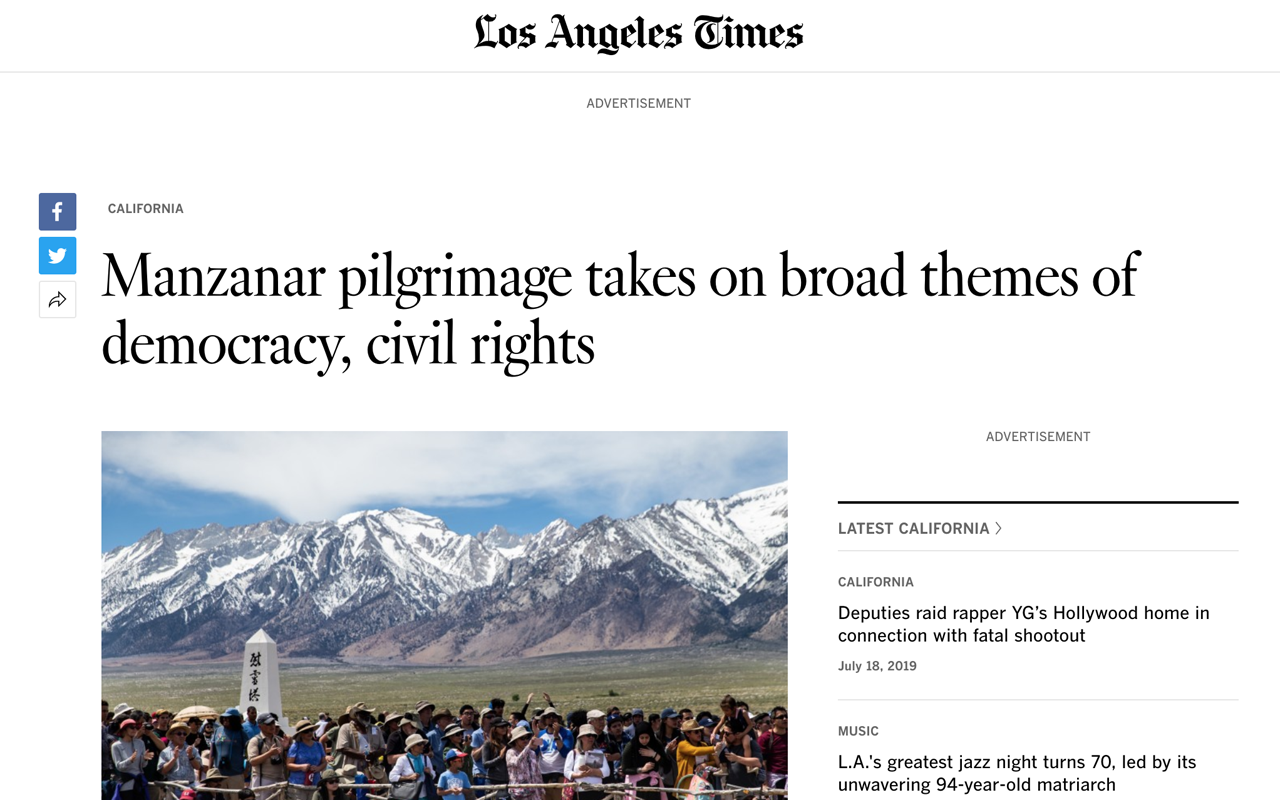 "LOS ANGELES TIMES     [READ]: ""Manzanar pilgrimage takes on broad themes of democracy, civil rights"" by Teresa Watanabe. Apr 2019."