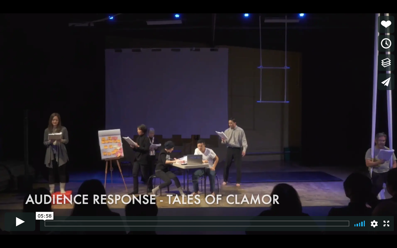 TALES OF CLAMOR VIDEOS BY EDDIE WONG   PULLproject's Tales of Clamor is featured in a series of videos by filmmaker Eddie Wong. Click each item below to watch:   - Tales of Clamor Audience Response    - NCRR and PULLproject Ensemble Collaboration   - Kennedy and traci on creating Tales of Clamor   - Tales of Clamor Share Back   Feb 2019.