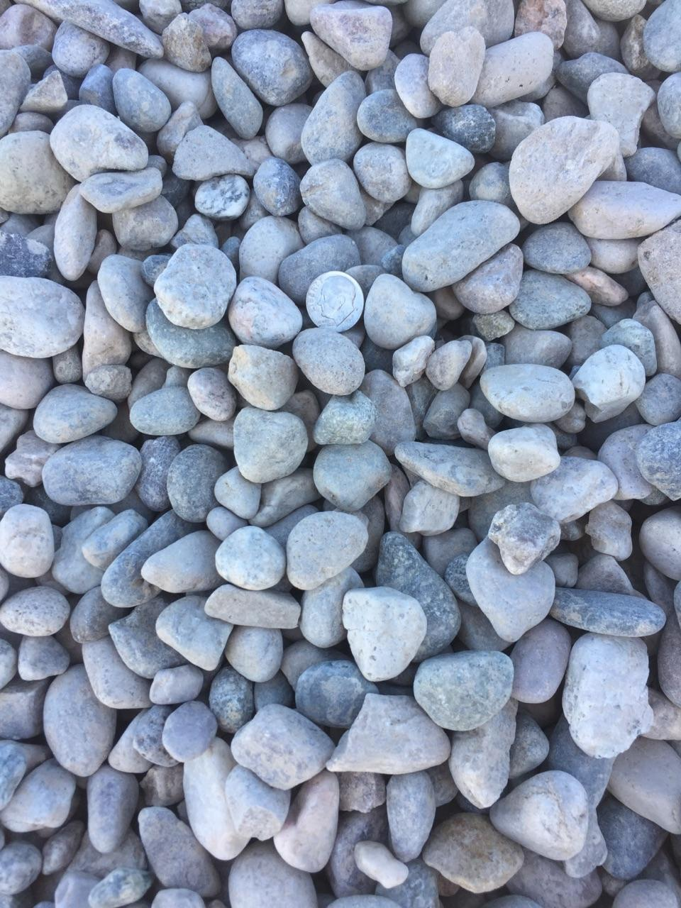 """1"""" Round  Round rock used for drainage backfill, mixing concrete and landscaping"""