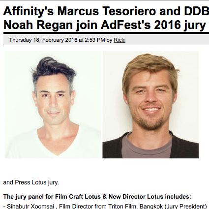 CAMPAIGN BRIEF  Affinity's Marcus Tesoriero and DDB Sydney's Noah Regan Join AdFest's 2016 Jury Line-Up