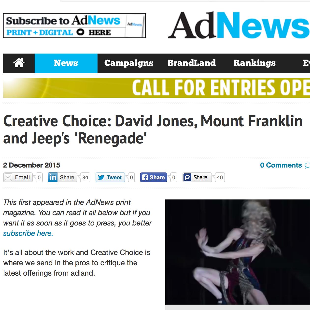 ADNEWS   Creative Choice: David Jones, Mount Franklin and Jeep's 'Renegade'