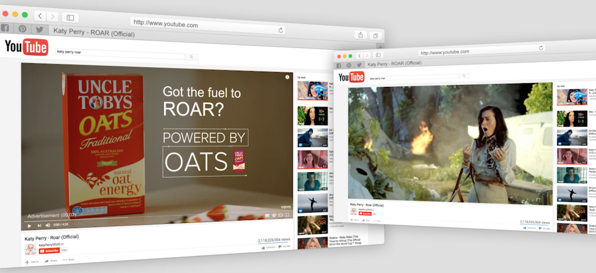 Energy related messages were tailored to match the content being viewed on YouTube.
