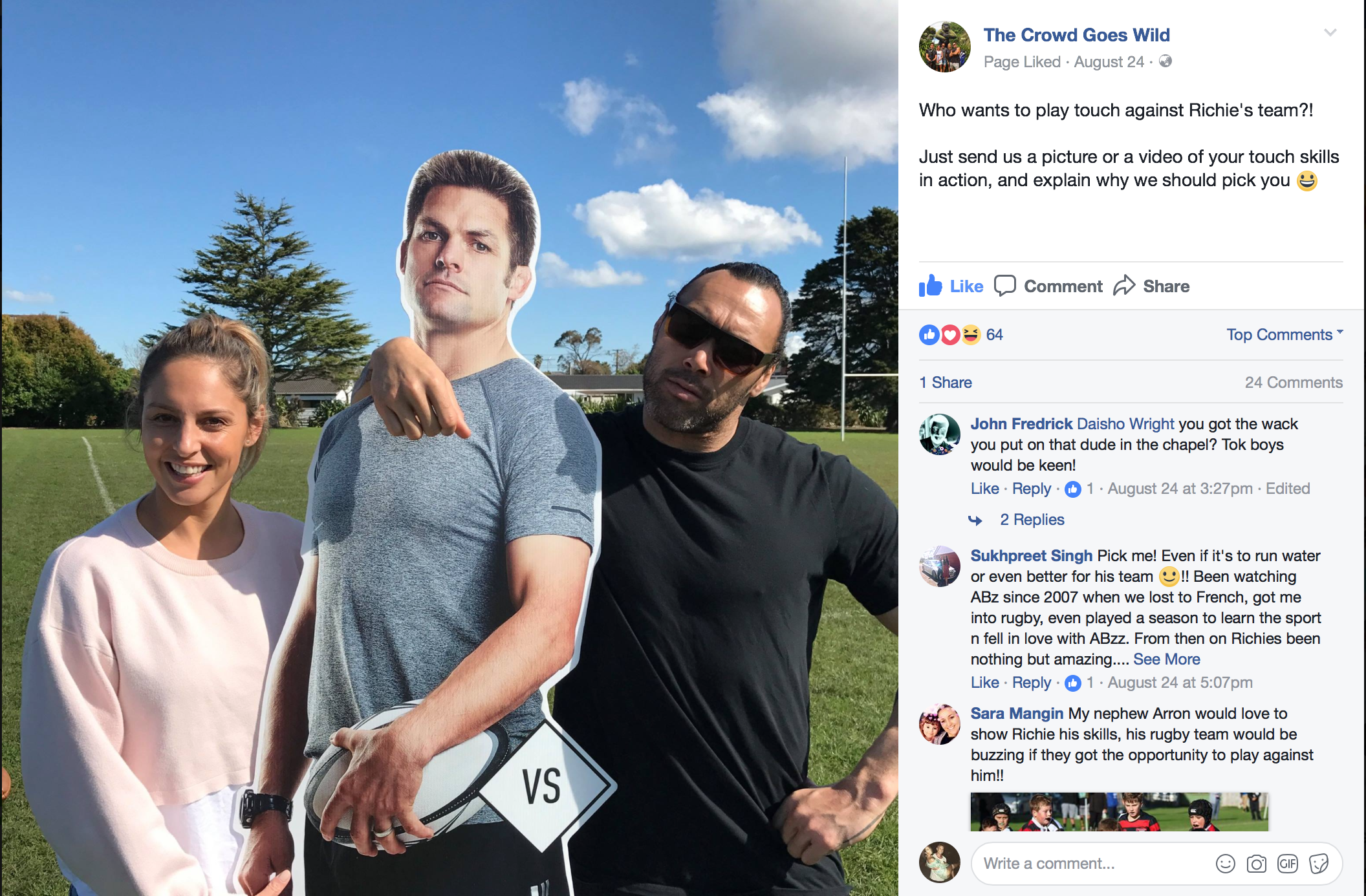 'The Crowd Goes Wild' social post featuring our life-sized Richie standees placed in petrol stations across NZ.