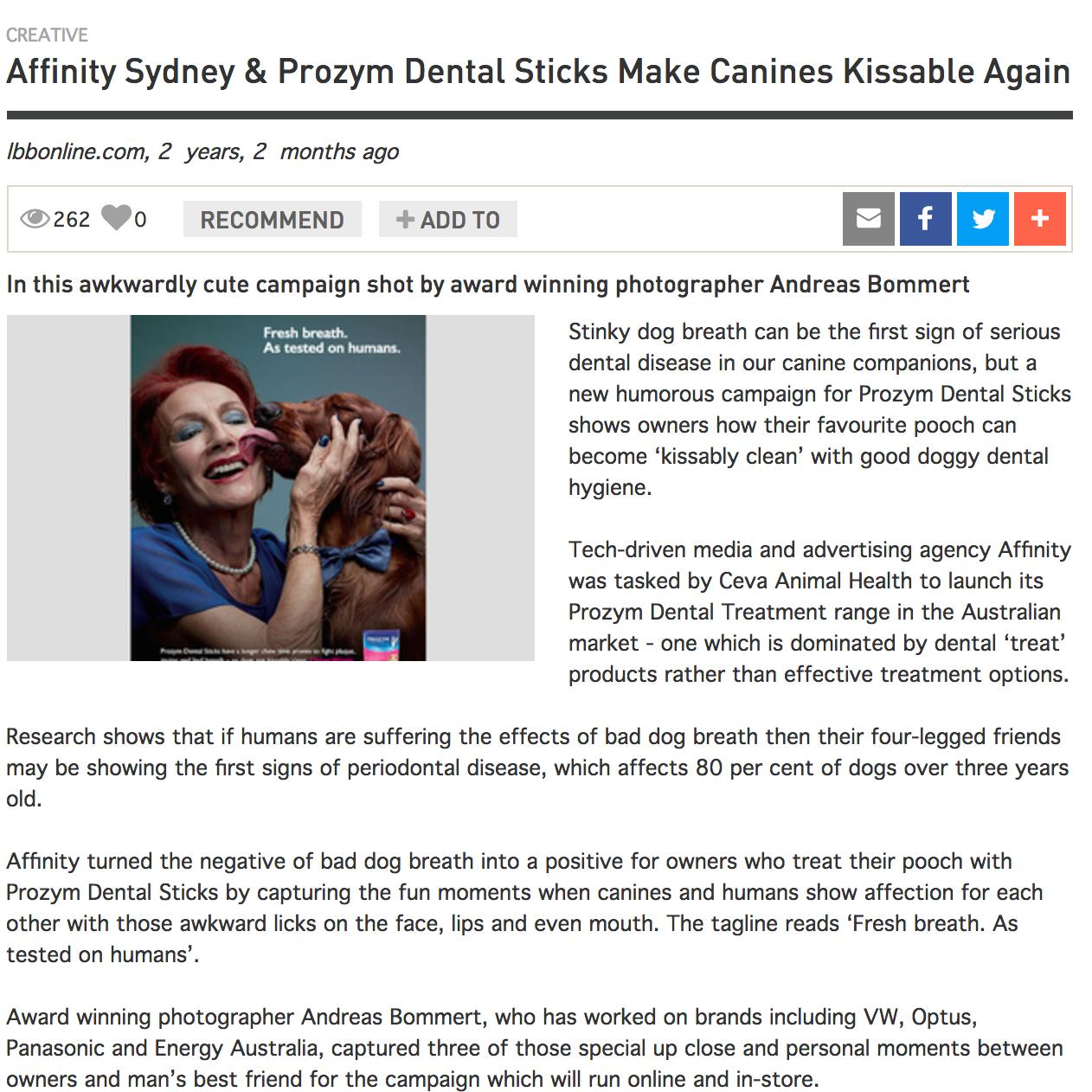 LITTLE BLACK BOOK  Affinity Sydney & Prozym Dental Sticks Make Canines Kissable Again