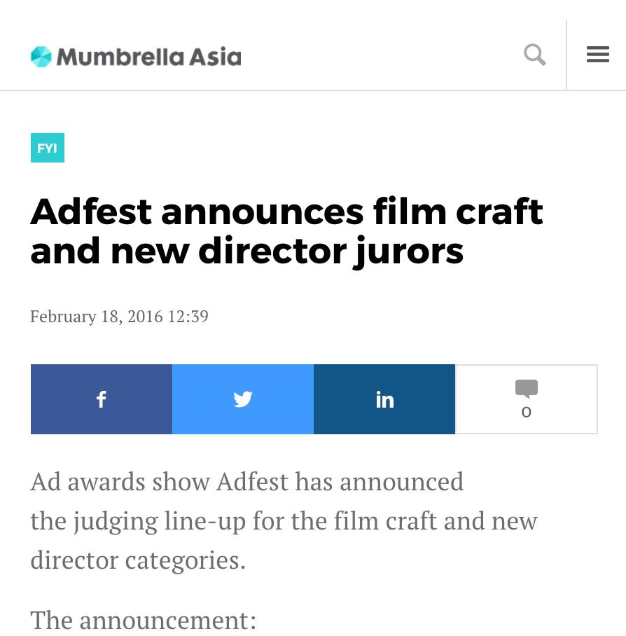 MUMBRELLA  Adfest Announces Film Craft And New Director Jurors