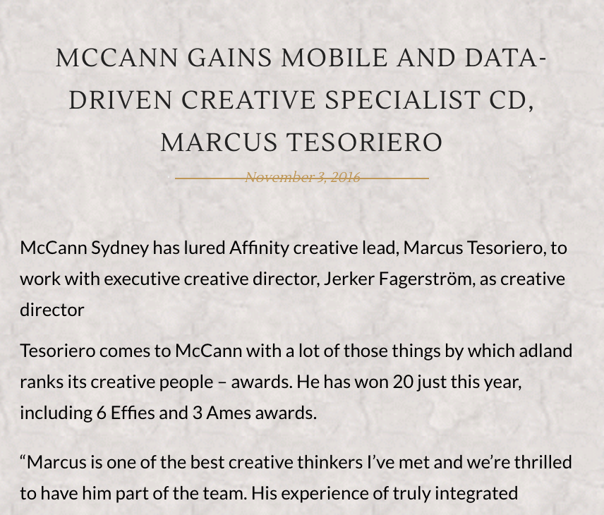 THE STABLE  MCCANN GAINS MOBILE AND DATA-DRIVEN CREATIVE SPECIALIST CD, MARCUS TESORIERO