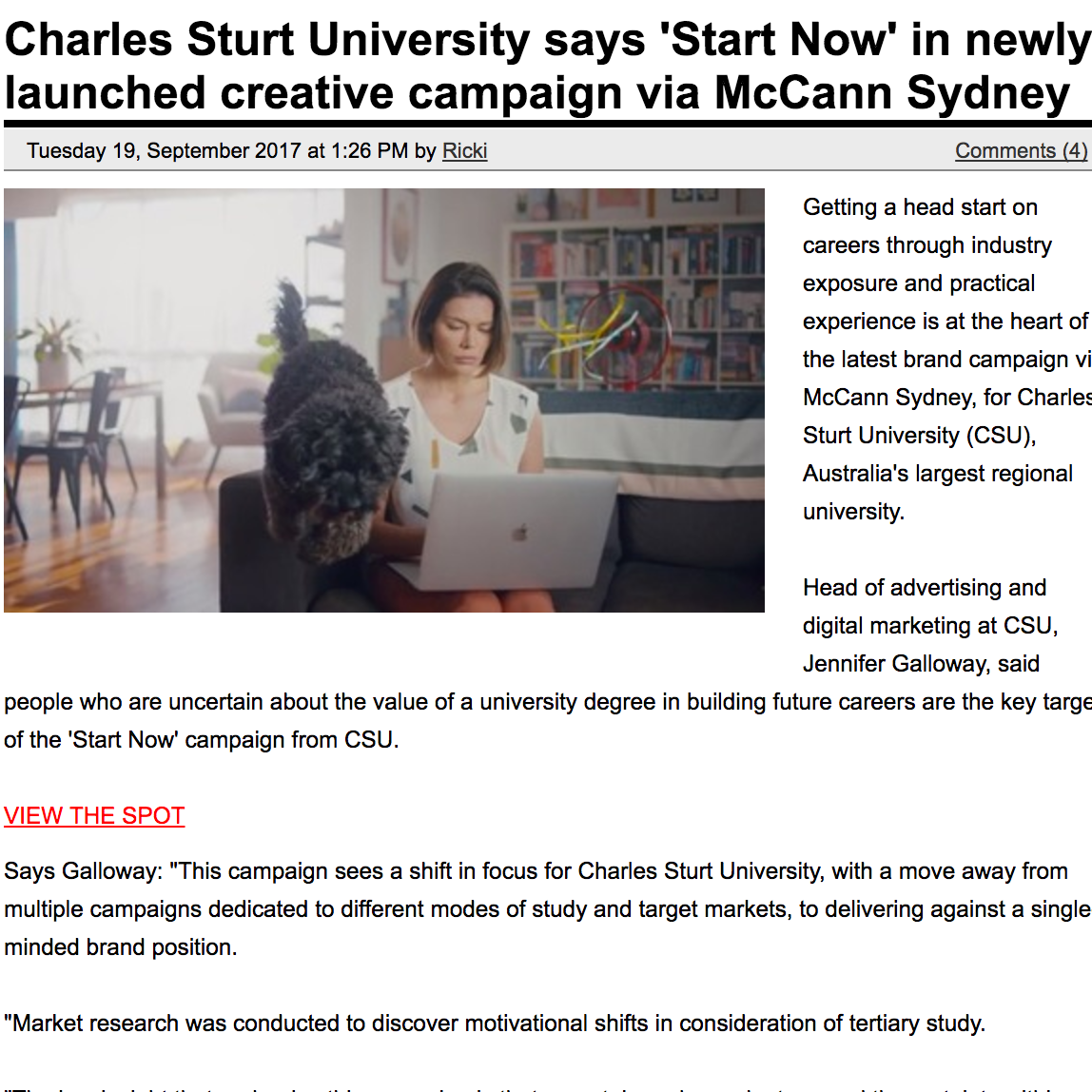 CAMPAIGN BRIEF  Charles Sturt University says 'Start Now' in newly launched creative campaign via McCann Sydney