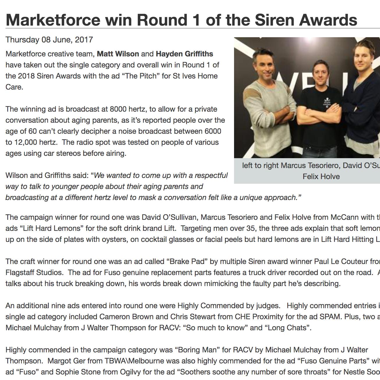 RADIOINFO  Marketforce win Round 1 of the Siren Awards