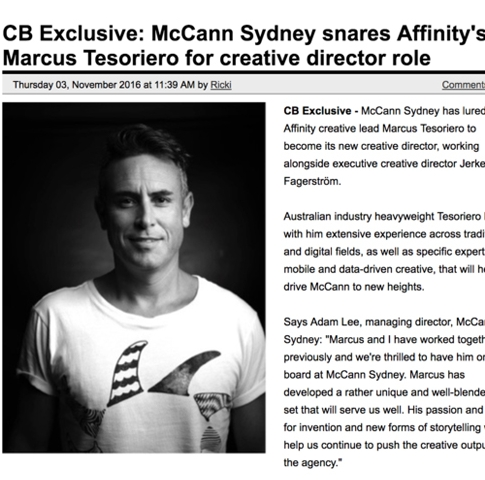 CAMPAIGN BRIEF  CB Exclusive: McCann Sydney snares Affinity's Marcus Tesoriero for creative director role