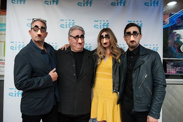 "Director Ned Crowley (left) and actors Anne Dudek, Jim O'Heir, and Andrew J. West attend the World premiere of ""Middle Man."" (Photo courtesy of Seattle International Film Festival, used with permission)"