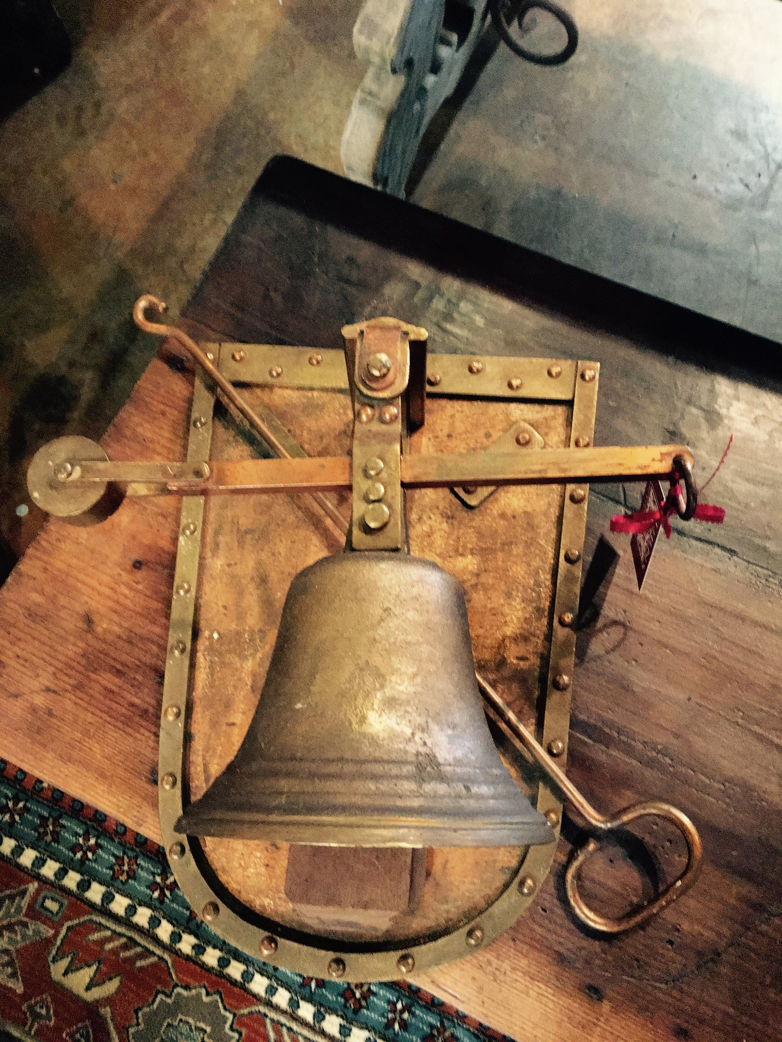 Beautiful Antique, Circa 1880 solid brass and Cooper bell. Truly a unique, one of a kind find for that special loved one in your life! Come shop Burns Antik Haus for all your holiday needs!!! 2195 Calder Ave. Beaumont, TX 77701, 409.835.3080.