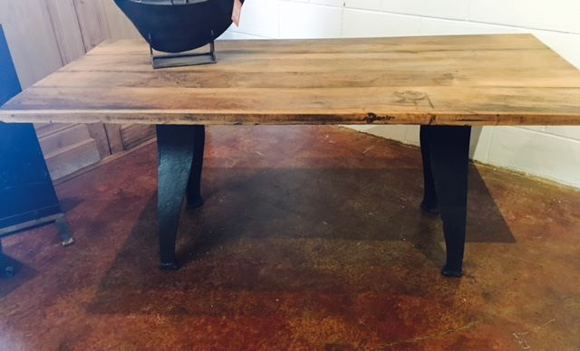 Just arrived today! Hot design trend!! 1930s cast iron industrial bases with repurposed 100+ year old wood top! Come see...2195 Calder Ave, Beaumont Tx, 77701, 409.835.3080