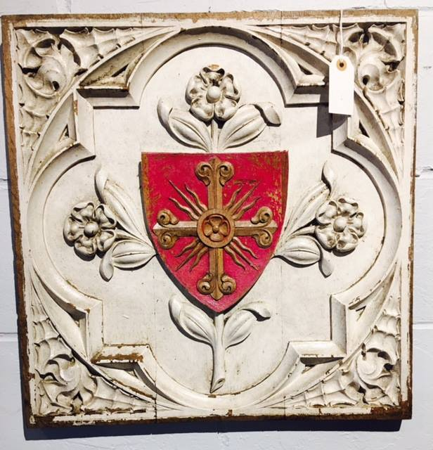 """Architectural salvage panels, circa 1880's France. 20"""" square, $495 each. Great as art! Other ideas? 2195 Calder Ave, Beaumont Tx, 77701, 409.835.3080"""