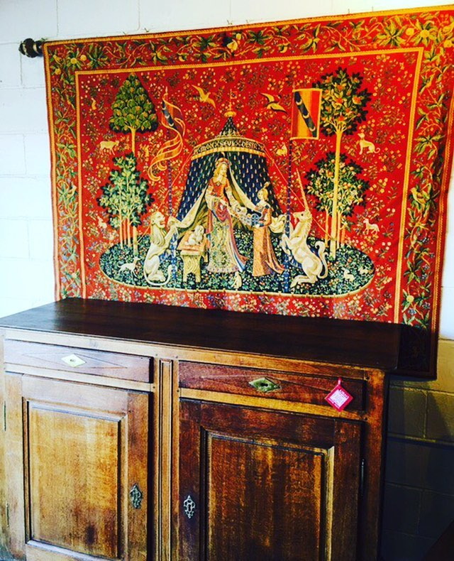 """Just arrived! Handcrafted Belgium tapestry of """"To my Sole Desire"""". 5'7""""x 4'5"""". Original is from France, circa 1512. Be my Valentine!!"""