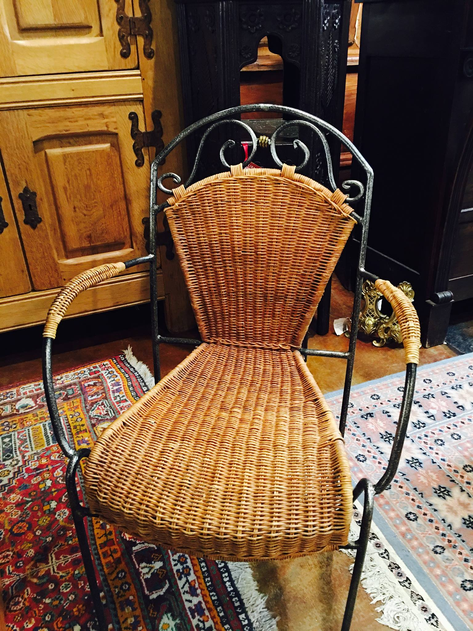 Just in, a set of four adorable wicker and iron chairs! One arm chair and three side chairs, priced at $120. Perfect for your sun room or breakfast nook! 2195 Calder Ave, Beaumont Tx, 77701, 409.835.3080.  #burnsantikhaus  #europeanimporters  #vintage  #shopsmall