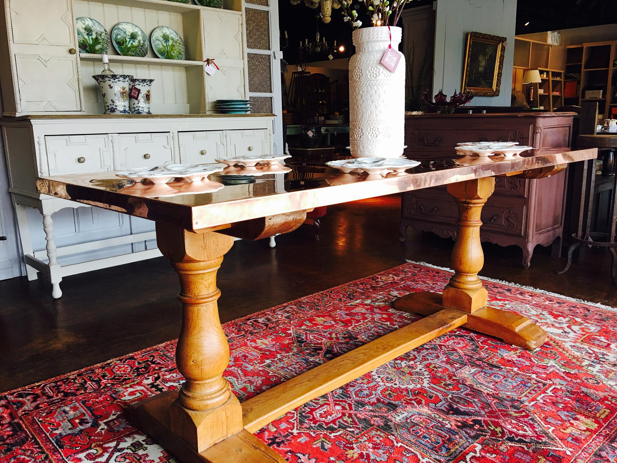 Just arrived, copper topped ship salvage solid oak trestle table, 250-300 years old! Perfect for your breakfast nook! Stop by and see this gorgeous table in person!!! 2195 Calder Ave, Beaumont Tx 77701, 409.835.3080.  #burnsantikhaus  #europeanimporters  #shopsmall  #vintage