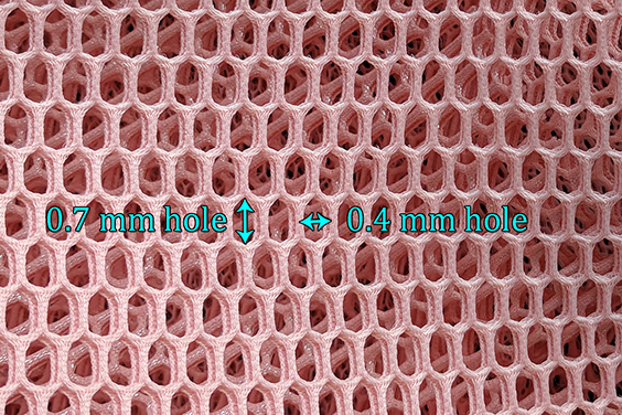Large scale honeycomb patterned neoprene mesh