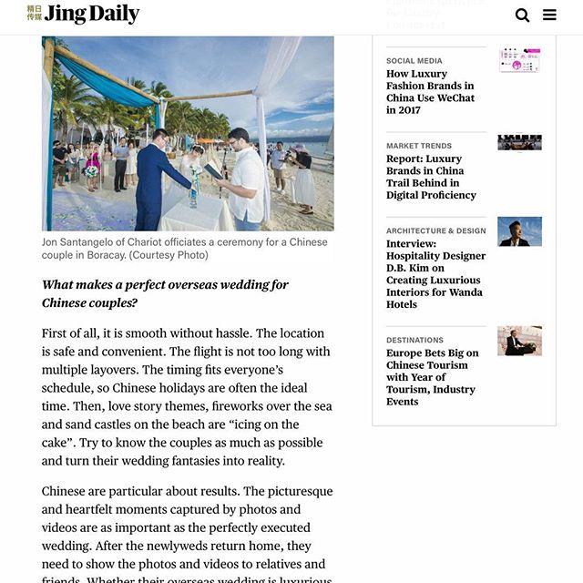 Check us out on JingDaily.com 😊#prrequest #beachwedding #weddingmedia