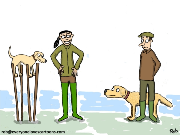 labrador on stilts cartoon