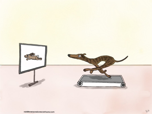greyhound treadmill cartoon