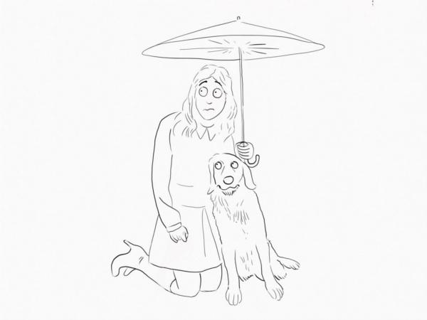 woman and dog umbrella