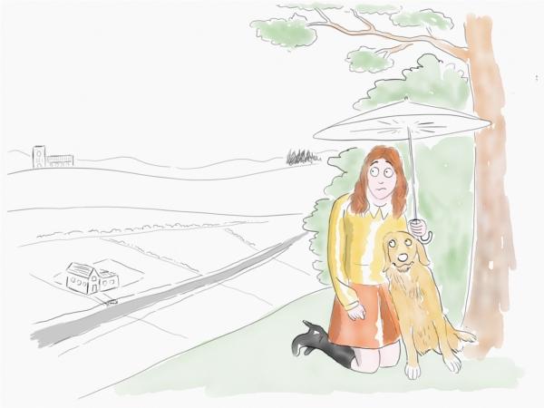 golden retriever and woman