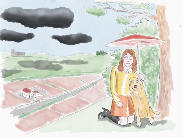 woman and dog scene