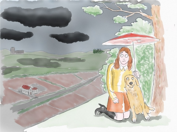 woman and golden retriever