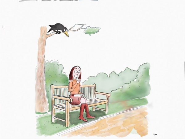 woman on bench crow