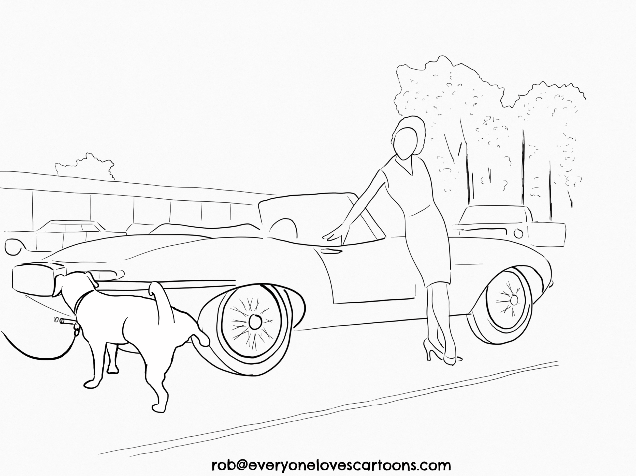 2. Outline of the characters and background. I found a photo of a woman leaning on an E-type and based the above outline on it.