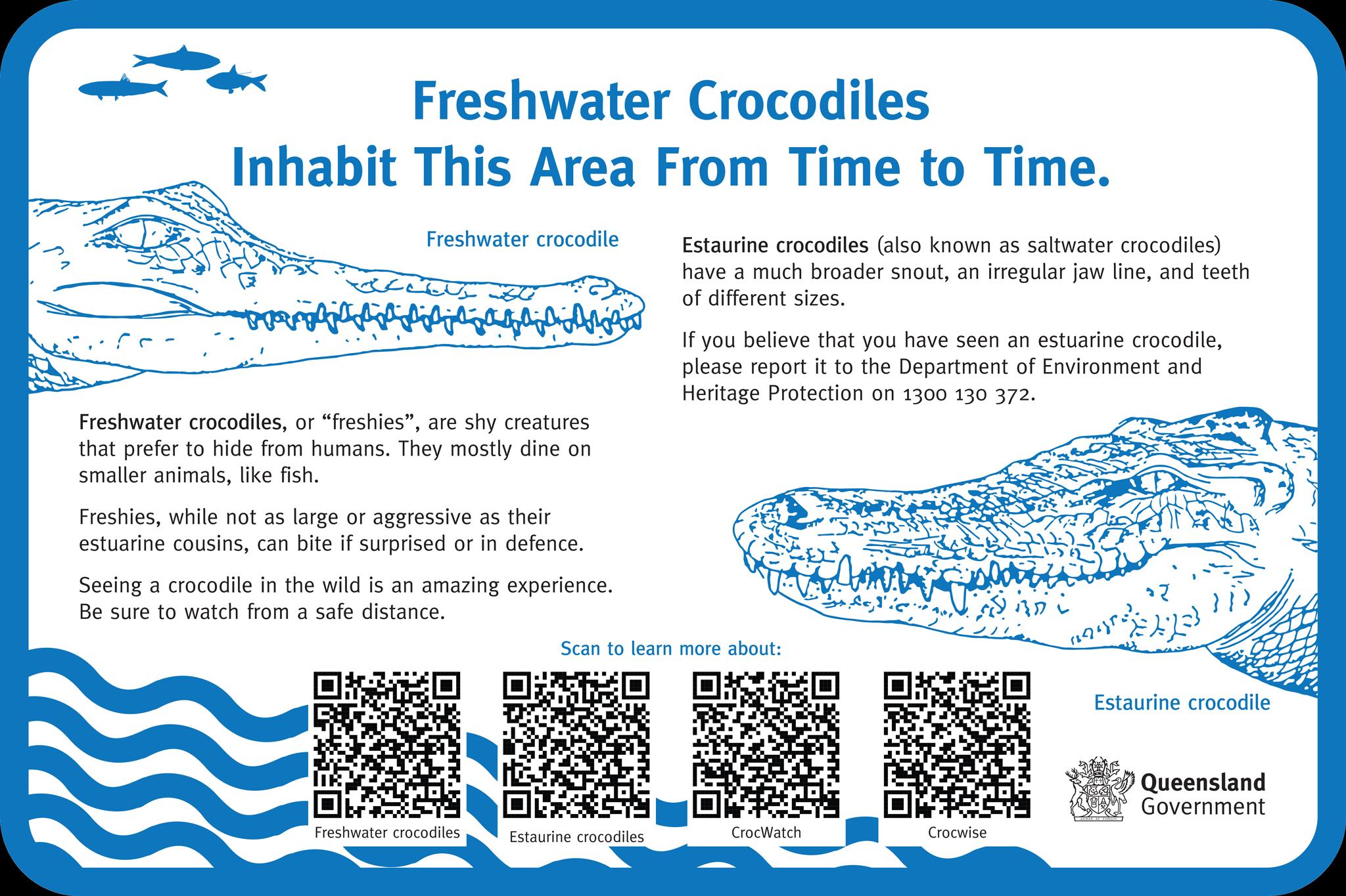 Image:  Freshwater crocodiles signage