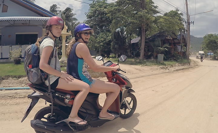 Scooters are the way to travel on Koh Phangan.  200baht per day, cheap as chippies