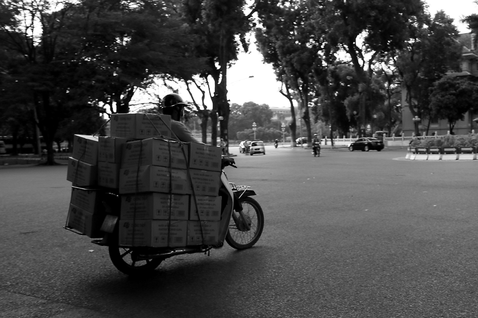 The best way to travel, scooters were often piled high with anything and everything.
